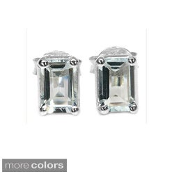 Malaika Sterling Silver Octagon-cut Gemstone Stud Earrings