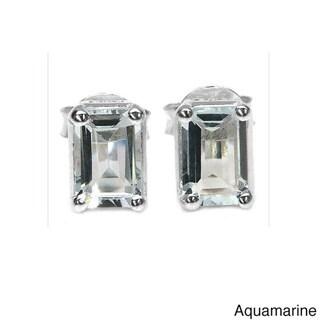Malaika Sterling Silver Octagon-cut Gemstone Stud Earrings