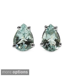 Malaika Sterling Silver Pear-cut Gemstone Stud Earrings