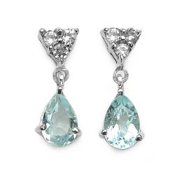 Malaika Sterling Silver Aquamarine and White Topaz Dangle Earrings