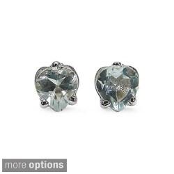 Malaika Sterling Silver Heart-cut Gemstone Stud Earrings