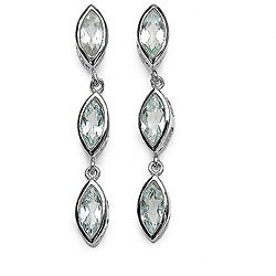 Malaika Sterling Silver Marquise-cut Aquamarine 3-stone Dangle Earrings