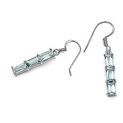 Malaika Sterling Silver Baguette-cut Aquamarine 3-stone Dangle Earrings