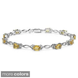Malaika Sterling Silver Oval-cut Blue Topaz or Citrine Link Bracelet
