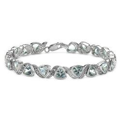 Malaika Sterling Silver Blue Topaz and Diamond Accent Link Bracelet