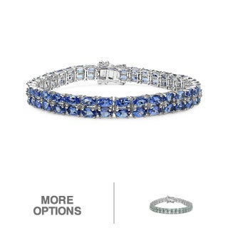 Malaika Sterling Silver Oval-cut Blue Topaz or Tanzanite 2-row Bracelet