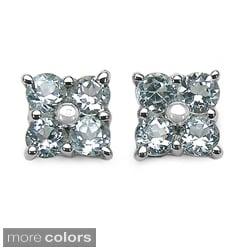 Malaika Sterling Silver Round-cut Gemstone Stud Earrings