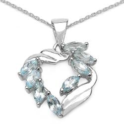 Malaika Sterling Silver Marquise-cut Blue Topaz Necklace