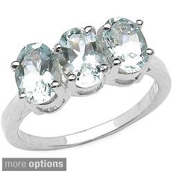 Malaika Sterling Silver Aquamarine or Blue Topaz Ring
