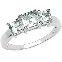 Malaika Sterling Silver Square-cut Aquamarine 3-stone Ring