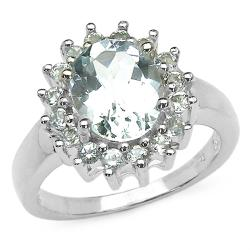 Malaika Sterling Silver Oval and Round Aquamarine Ring