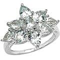 Malaika Sterling Silver Aquamarine Flower Ring