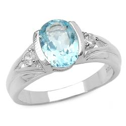 Malaika Sterling Silver Oval-cut Blue Topaz and White Topaz Ring