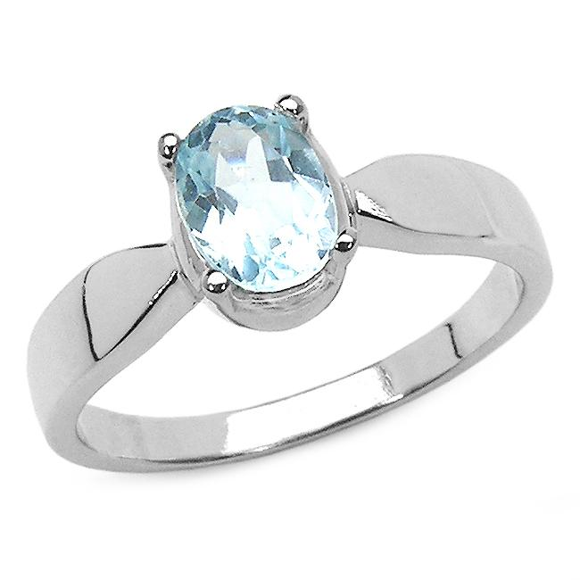 Malaika Sterling Silver Oval-cut Blue Topaz Solitaire Ring
