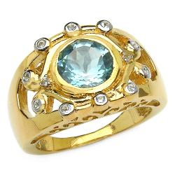 Malaika 14k Goldplated Sterling Silver Blue Topaz and White Topaz Ring