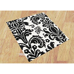 Hand-tufted Quill Feather White/ Black Wool Rug (6' Square)