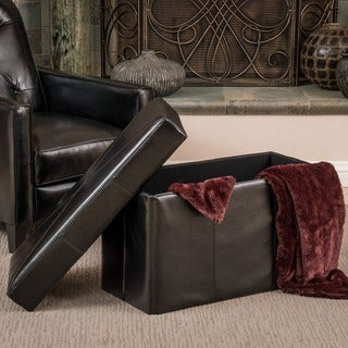 Christopher Knight Home Nottingham Black Bonded Leather Storage Ottoman Bench