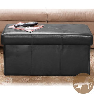 Christopher Knight Home Nottingham Black Bonded Leather Storage Ottoman Bench