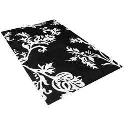 Alliyah Handmade Quill Feather Black/White New Zealand Blend Wool Rug (8' x 10')