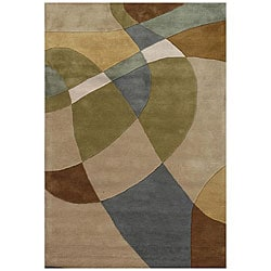 Hand-Tufted Geometric Multi Wool Abstract Rug (5' x 8')