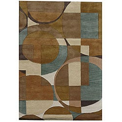 Hand-Tufted Geometric Multi Rectangular Wool Rug (5' x 8')