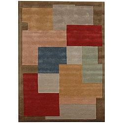 Hand-tufted Geometric Block Multi Wool Rug (5' x 8')
