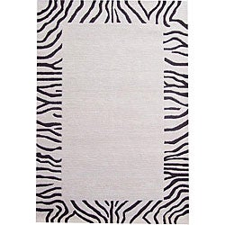 Hand-tufted Zebra Border Wool Rug (5' x 8')