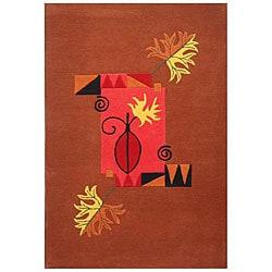 Hand-tufted Terra Leaves Wool Rug (5' x 8')