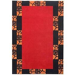 Hand-tufted Wall Border Wool Rug (5' x 8')