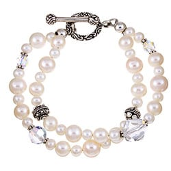 Charming Life Sterling Silver Double-strand Pearl Bracelet (8 mm)