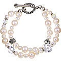 Charming Life Sterling Silver Double-strand White Freshwater Pearl Bracelet (8 mm)