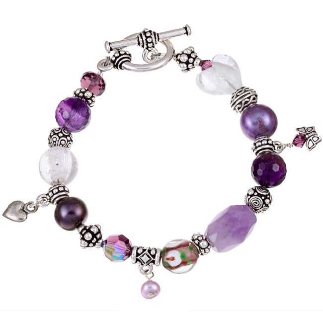 Charming Life Pewter Amethyst and Pearl Bracelet (10 mm)