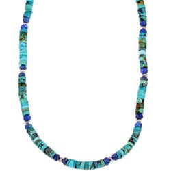 Charming Life Men's Sterling Silver Turquoise and Lapis Necklace