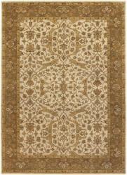 Hand-knotted Mandara Beige Wool Rug (9' x 13')