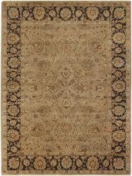 Hand-knotted Mandara Tan Wool Rug (7'9 x 10'6)