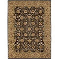 Traditional Hand-Knotted Mandara Brown Wool Rug (7'9 x 10'6)
