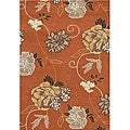Hand-tufted Flower Rust Wool Rug (8' x 10')