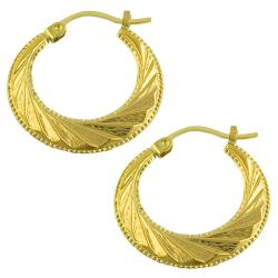 14k Yellow Gold Diamond-cut Flat Hoop Earrings
