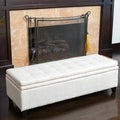 Christopher Knight Home Brighton White Linen Storage Ottoman