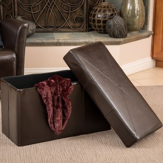 Christopher Knight Home Nottingham Brown Bonded Leather Folding Storage Ottoman