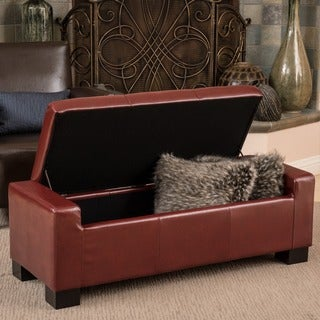 Christopher Knight Home Guernsey Henna Brown Bonded Leather Storage Ottoman Bench