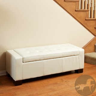 Christopher Knight Home Guernsey Ivory Bonded Leather Storage Ottoman Bench