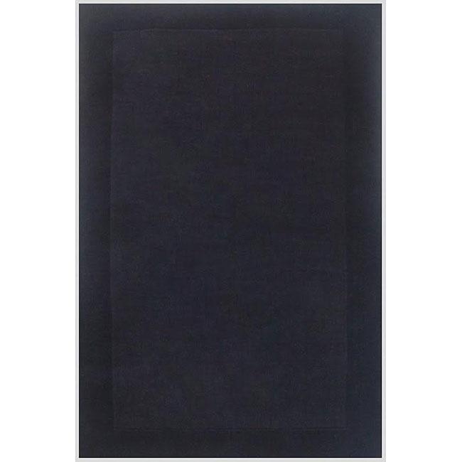 Hand-tufted Black Border Wool Rug (8' x 11')
