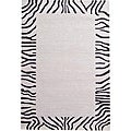 Hand-tufted Zebra Border Wool Rug (8' x 11')