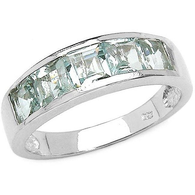 Malaika Sterling Silver Square-cut Aquamarine 5-stone Ring