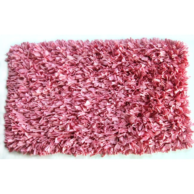 Handmade Pastel Pink Jersey T-shirt Shag Rug (4'7 x 7'5)