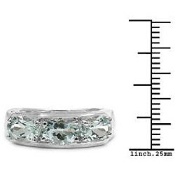 Malaika Sterling Silver Oval-cut Aquamarine 3-stone Ring