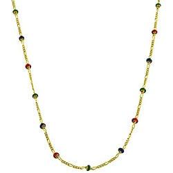 Fremada 14k Gold Multi-colored Enamel Station 18-inch Figaro Chain Necklace