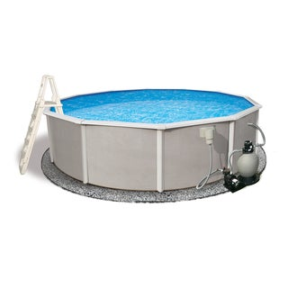 Belize Above Ground 24-foot Round Swimming Pool Package