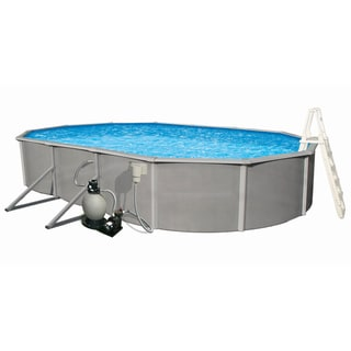Belize Oval 48-inch Deep, 6-inch Top Rail Metal Wall Swimming Pool Package